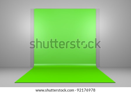 Green or chroma key backdrop in empty room - stock photo