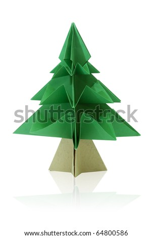 Green origami fir tree or Christmas tree isolated on white - stock photo