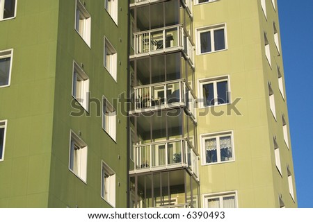 Green Oslo apartments from the 50s - stock photo