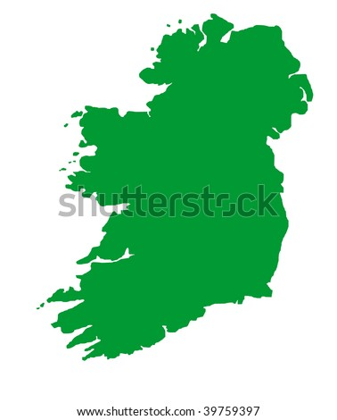 Green outline map of Republic of Ireland on blue with clipping path, isolated on white background. - stock photo