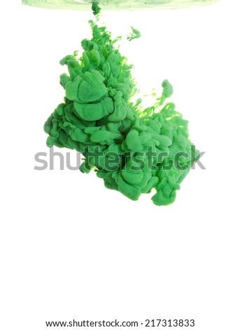 Green paint in water, an abstract on a white background - stock photo