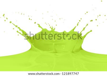 green paint splashing on white - stock photo