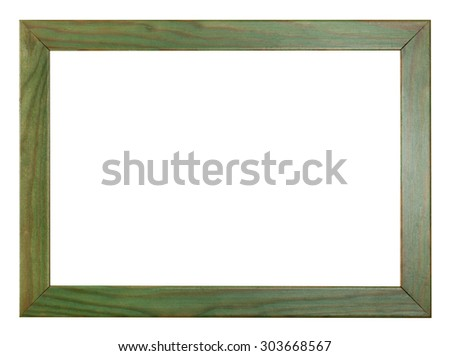 green painted flat wooden picture frame with cut out blank space isolated on white background - stock photo