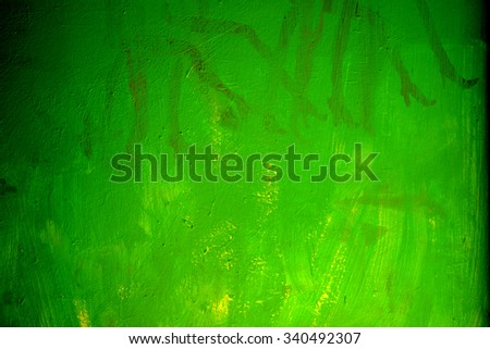 green painted wall grunge detail - stock photo