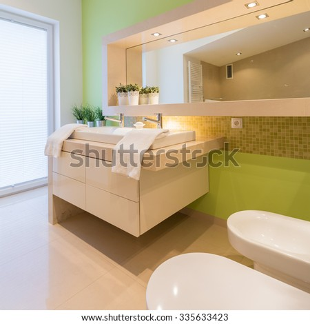 Green painted wall in beauty modern bathroom - stock photo