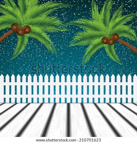 Green palm trees under the night sky  - stock photo