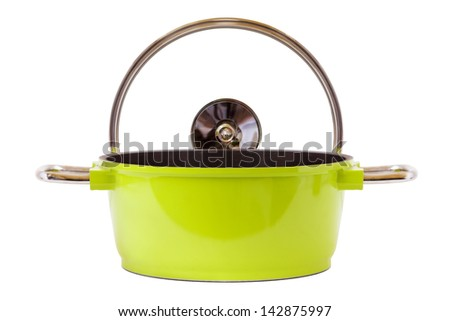 Green Pan and cooking top isolated on white - stock photo