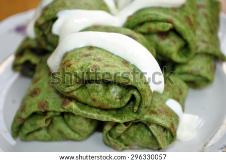 green pancakes with spinach - stock photo