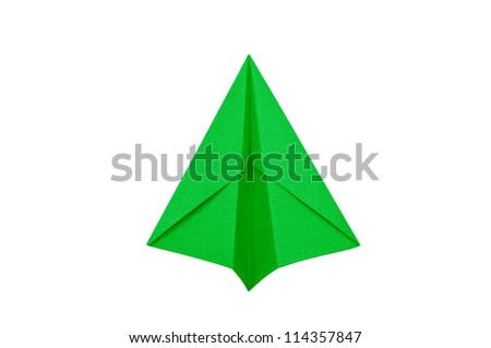 Green Paper aircraft, Paper Plane on a white background, - stock photo