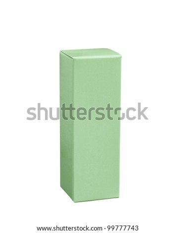 Green paper box isolated on white background - stock photo