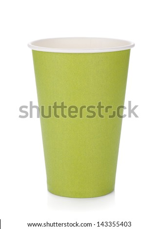 Green paper coffee cup. Isolated on white background - stock photo