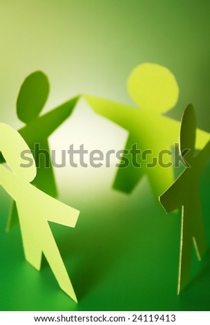 green paper cutouts - stock photo
