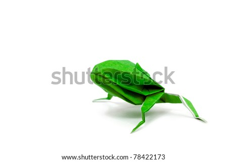 Green paper frog origami, isolated on white - stock photo