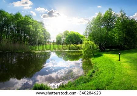 Green park near calm river under sunlight - stock photo
