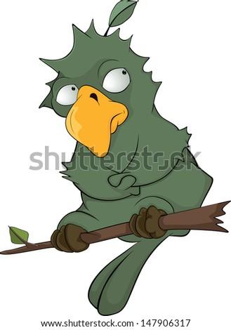 Green parrot cartoon - stock photo