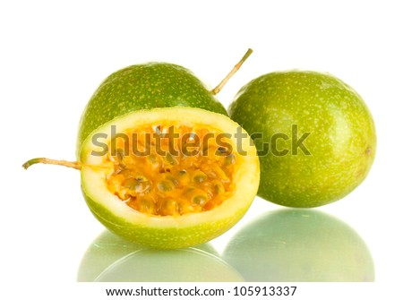 green passion fruit isolated on white background close-up - stock photo