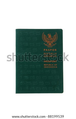 green passport book Indonesian citizens isolated on white background - stock photo