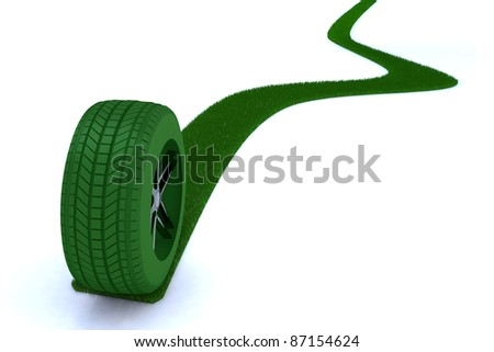 green path from a wheel 3d illustration - stock photo
