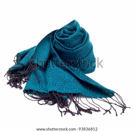 Green patterned scarf - stock photo