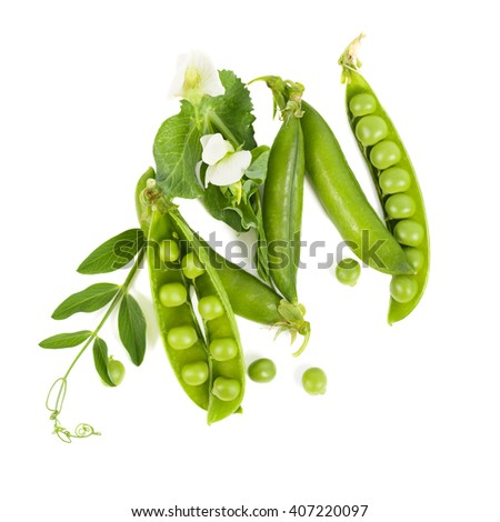 Green pea. Isolated on white background - stock photo