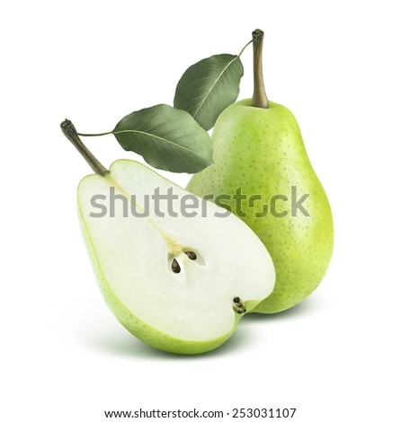 Green pear and half isolated on white background as package design element - stock photo