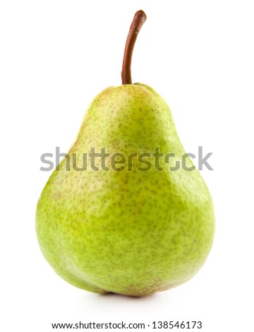 green pear isolated on a white  - stock photo