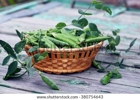 Green peas in a basket on an old table - stock photo