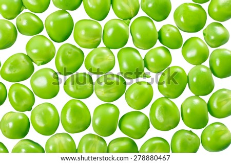 Green peas isolated on white. Background from peas. - stock photo