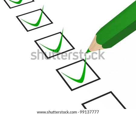 green pen check tick on white background - stock photo