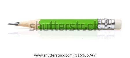 Green pencil with eraser on a white background - stock photo