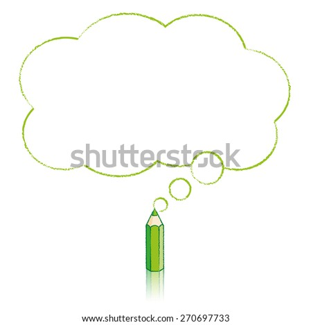 Green Pencil with Reflection Drawing Fluffy Cloud Shaped Think Bubble on White Background - Raster - stock photo