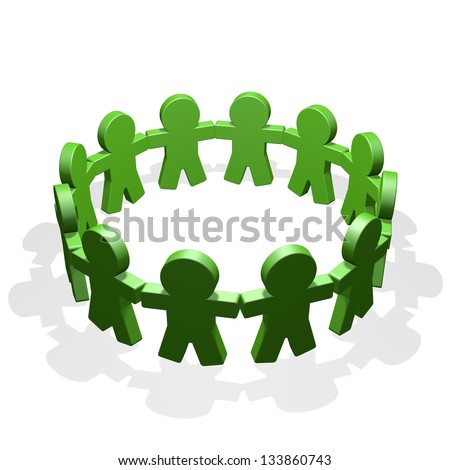 Green people connected in a circle holding their hands - stock photo