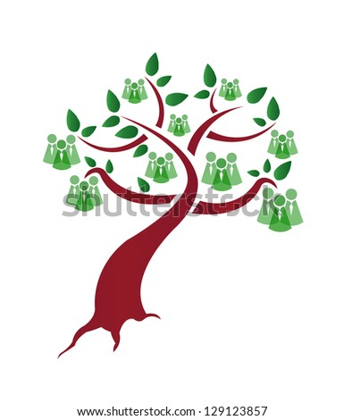 green people tree illustration design over a white background - stock photo