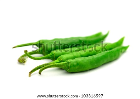green pepper is isolated on a white background - stock photo