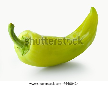 green pepper isolated on a white background - stock photo