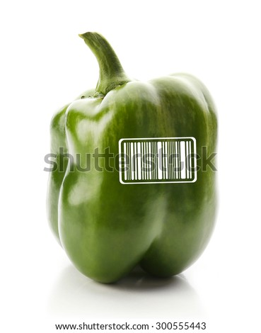 Green pepper with barcode isolated on white background - stock photo