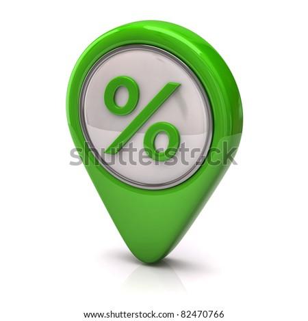 Green percentage icon - stock photo