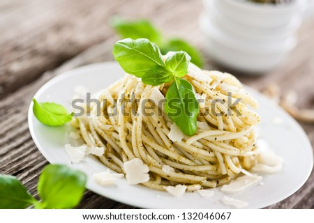 green pesto sauce in bowls - stock photo