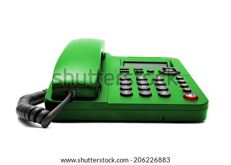 Green phone isolated on white background closeup - stock photo