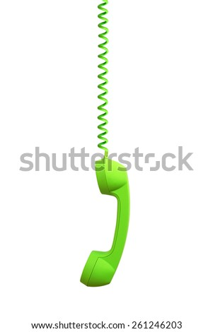 Green phone receiver hanging, isolated on white background - stock photo