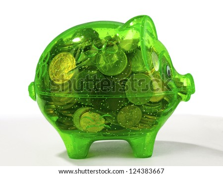green piggy bank isolated on white - stock photo
