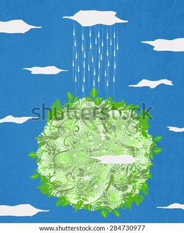 green planet  and rain digital illustration with paper texture - stock photo