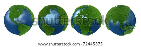 Green Planet collage with all continents mapped in 3D grass and isolation path included - stock photo