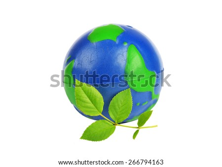 Green planet Earth concept, isolated on the white background - stock photo