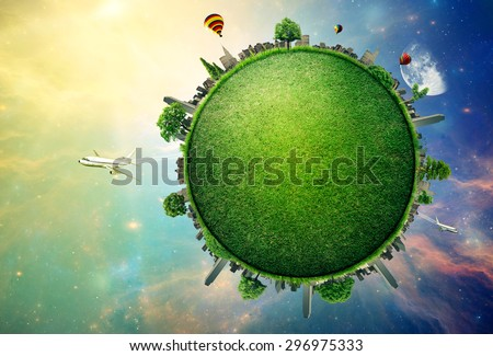 Green planet earth covered with grass city skyline. Sustainable source of electricity, power supply concept. Eco environmentally friendly technology approach. Elements of this image furnished by NASA - stock photo