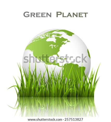 Green planet icon with globe and grass on white background - stock photo