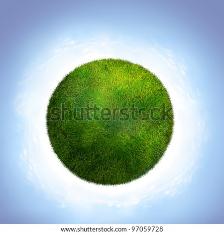 green planet on a white background.Ecology concept - stock photo