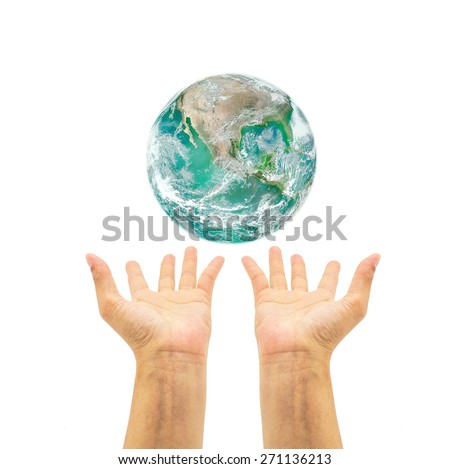Green planet over human hands isolated on white background : Saving environment concept and campaign : Pray for help and support : Elements of this image furnished by NASA  - stock photo