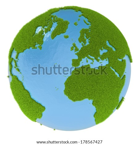 Green planet with continents covered with grass isolated on white background. Concept of ecology and clean environment. Elements of this image furnished by NASA - stock photo