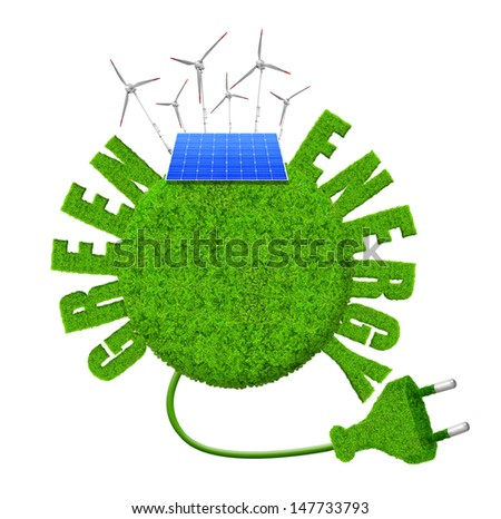 Green planet with wind turbines and solar panel.Green energy concepts  - stock photo
